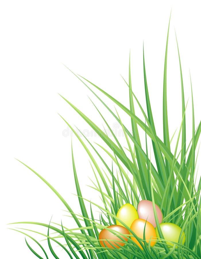 Fundo de Easter com os ovos e a grama ilustração royalty free