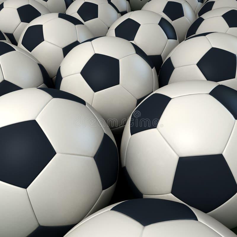 Fundo de esferas de futebol fotografia de stock