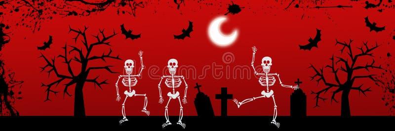 Fundo de esqueleto de Halloween da dança ilustração royalty free