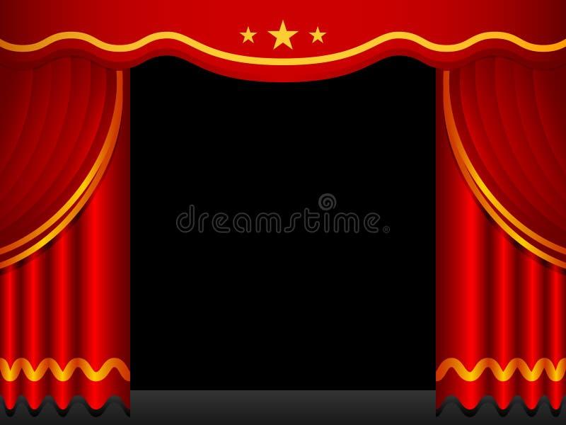 Fundo de estágio com cortinas vermelhas ilustração royalty free