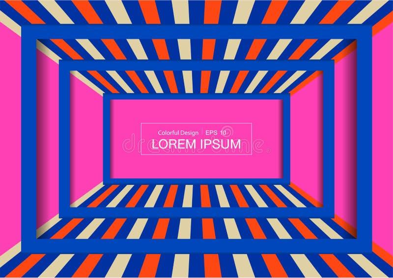 Fundo de exposição da forma Perspectiva colorida da sala para o projeto fotografia de stock