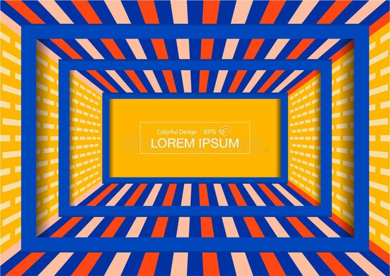 Fundo de exposição da forma Perspectiva colorida da sala para o projeto imagens de stock