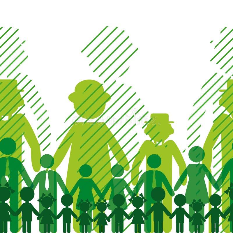 Fundo de família da ecologia. ilustração stock