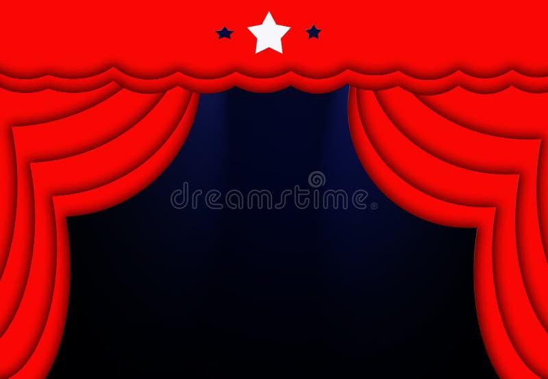 Fundo de fase azul das estrelas das luzes das cortinas vermelhas ilustração royalty free
