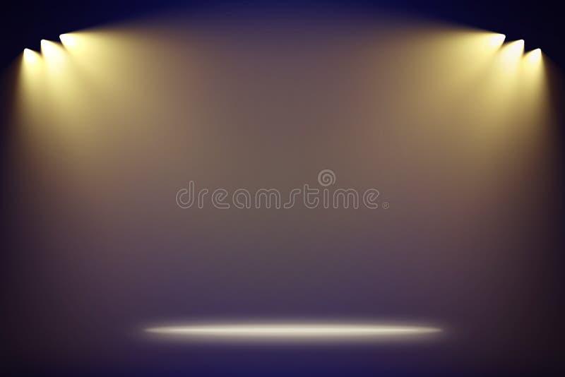 Fundo de fase azul vazio illuminating dos projetores ilustração stock
