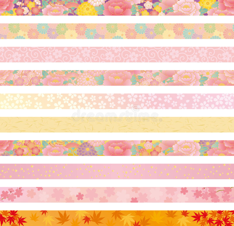 Encabeçamento floral japonês ilustração royalty free