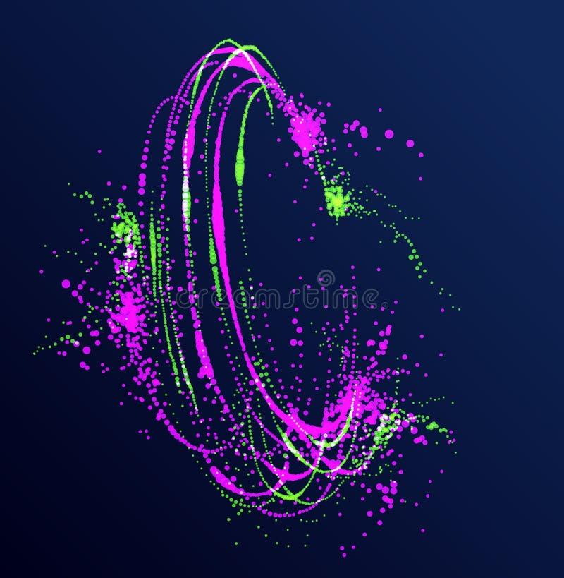 Fundo de fluxo do sumário do vetor do redemoinho das partículas dos pontos, projeto do giro do tema da ciência da biologia ilustração royalty free