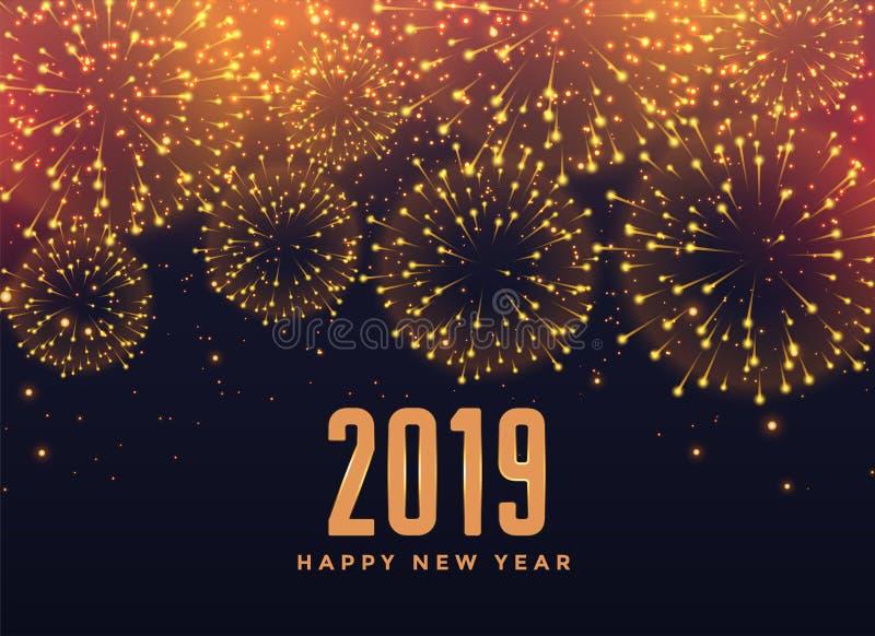 fundo de 2019 fogos de artifício do ano novo feliz ilustração do vetor