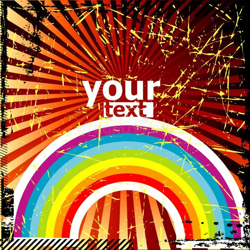 Fundo de Grunge com arco-íris ilustração stock