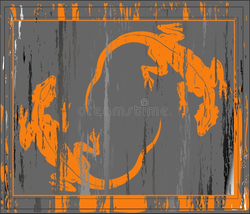 Fundo de Grunge com dois liz ilustração do vetor