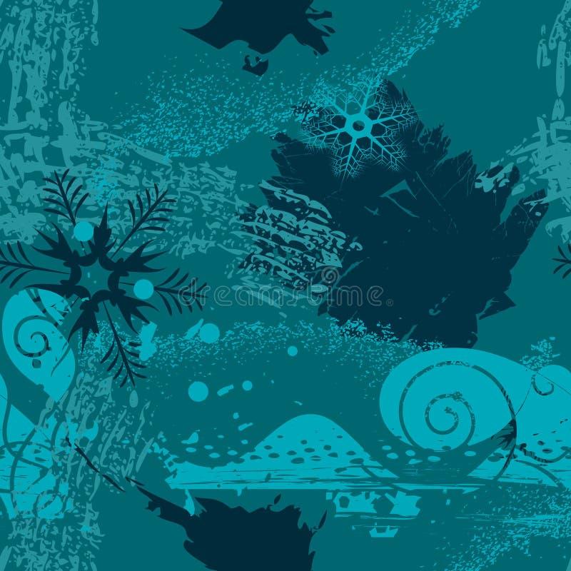Fundo de Grunge com flocos de neve ilustração stock