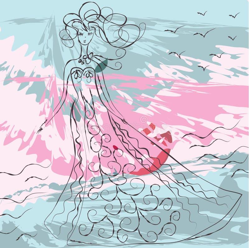 Fundo de Grunge com menina da forma ilustração do vetor