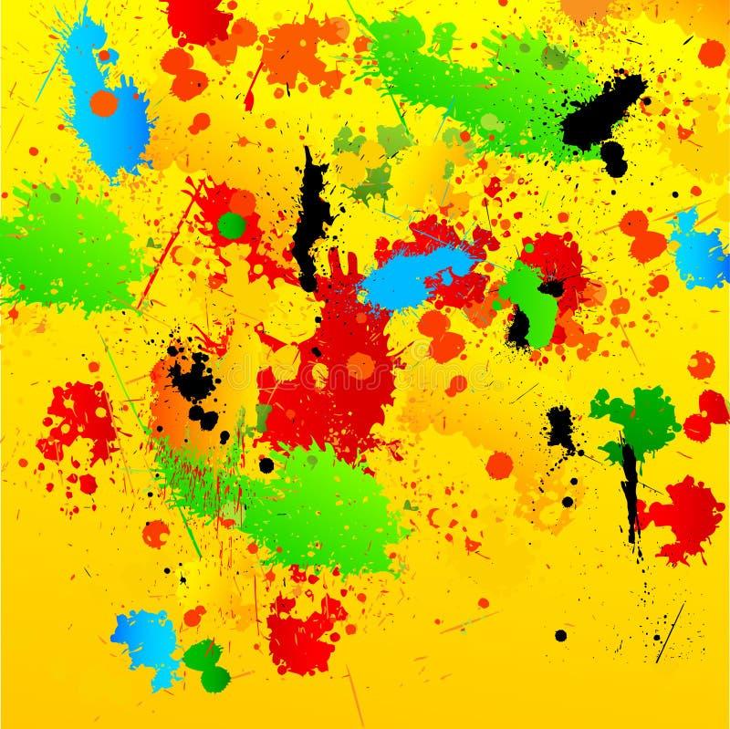 Fundo de Grunge com os Splatters desarrumado da pintura ilustração do vetor