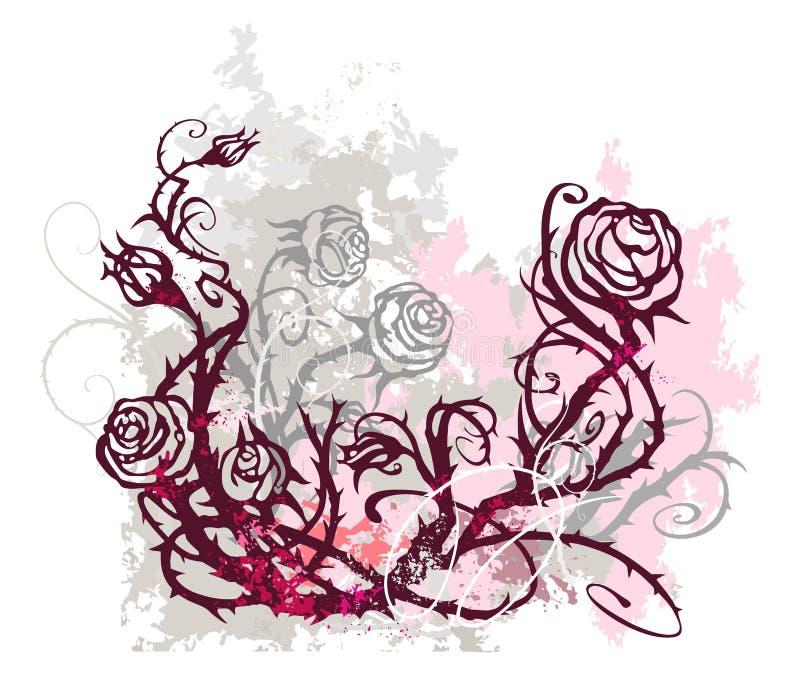 Fundo de Grunge com rosas ilustração do vetor