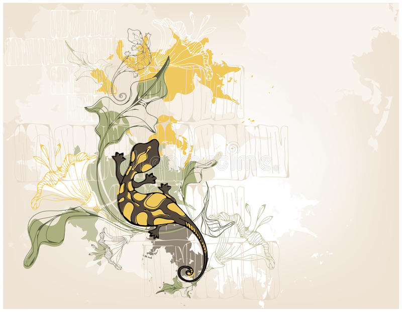 Fundo de Grunge com salamander ilustração do vetor