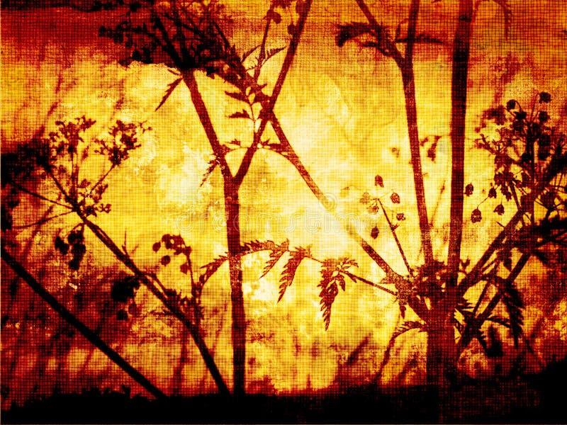 Fundo de Grunge com wildflowers ilustração do vetor