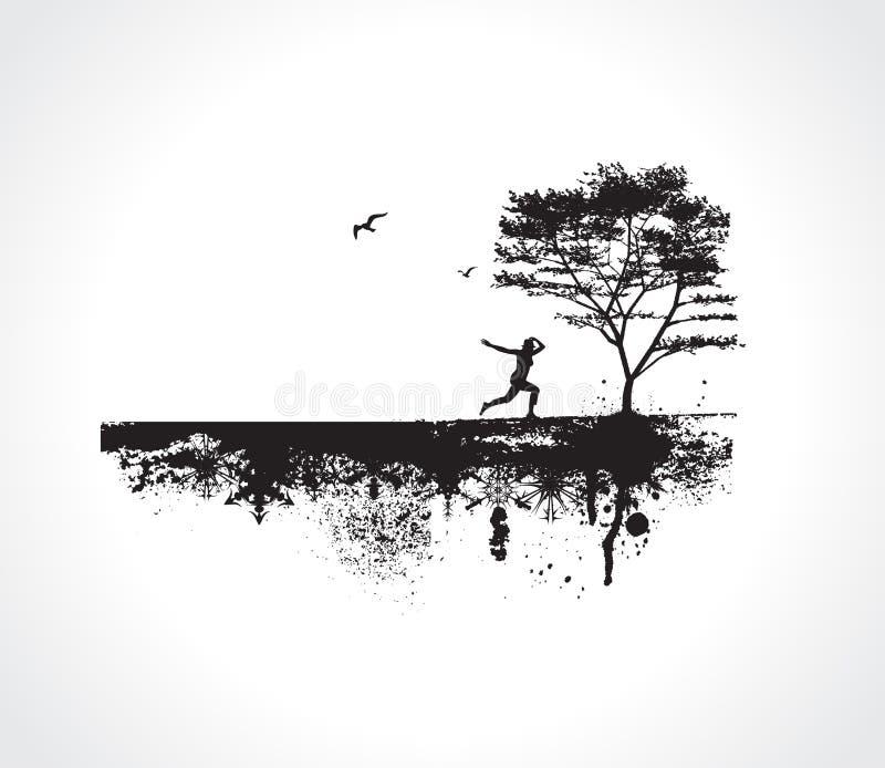Fundo de Grunge do vetor com menina de salto ilustração do vetor