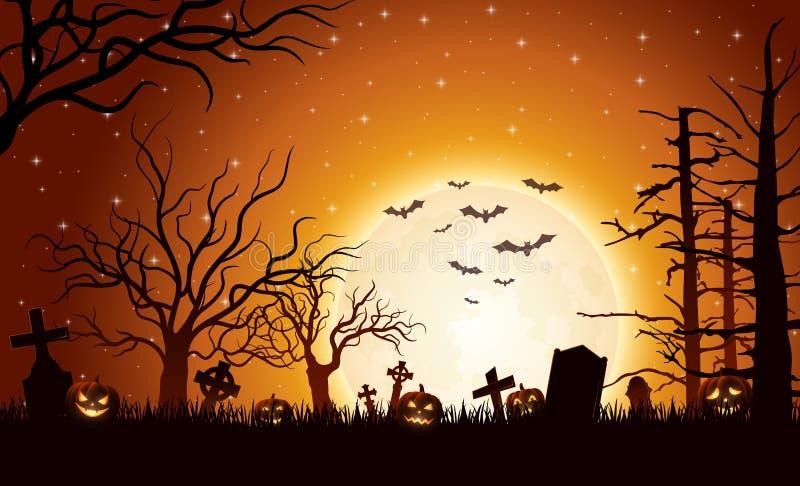 Fundo de Halloween com abóboras ilustração do vetor