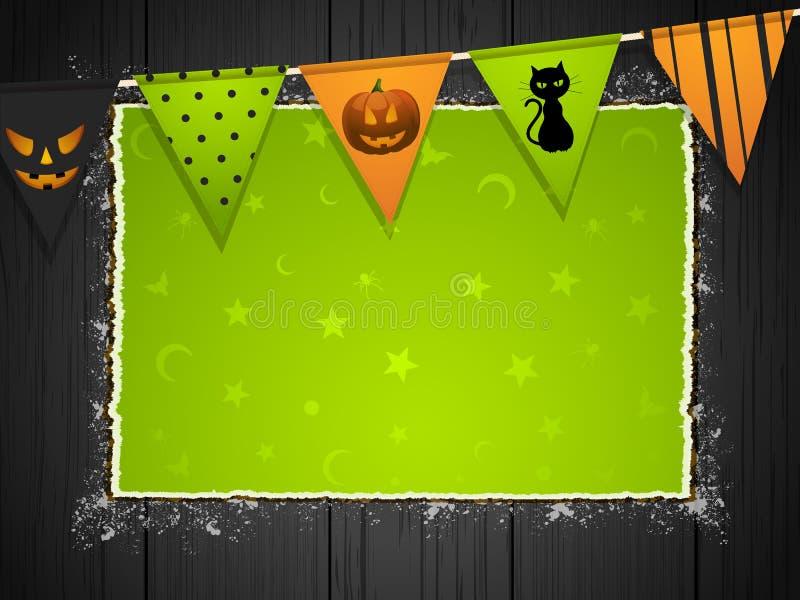 Fundo de Halloween com bunting na madeira ilustração stock