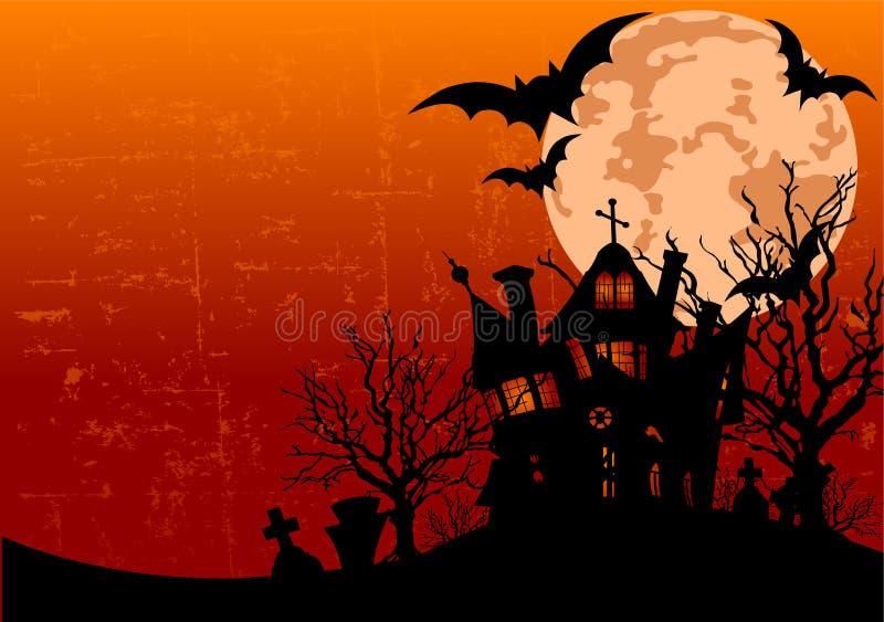 Fundo de Halloween com casa assombrada ilustração do vetor
