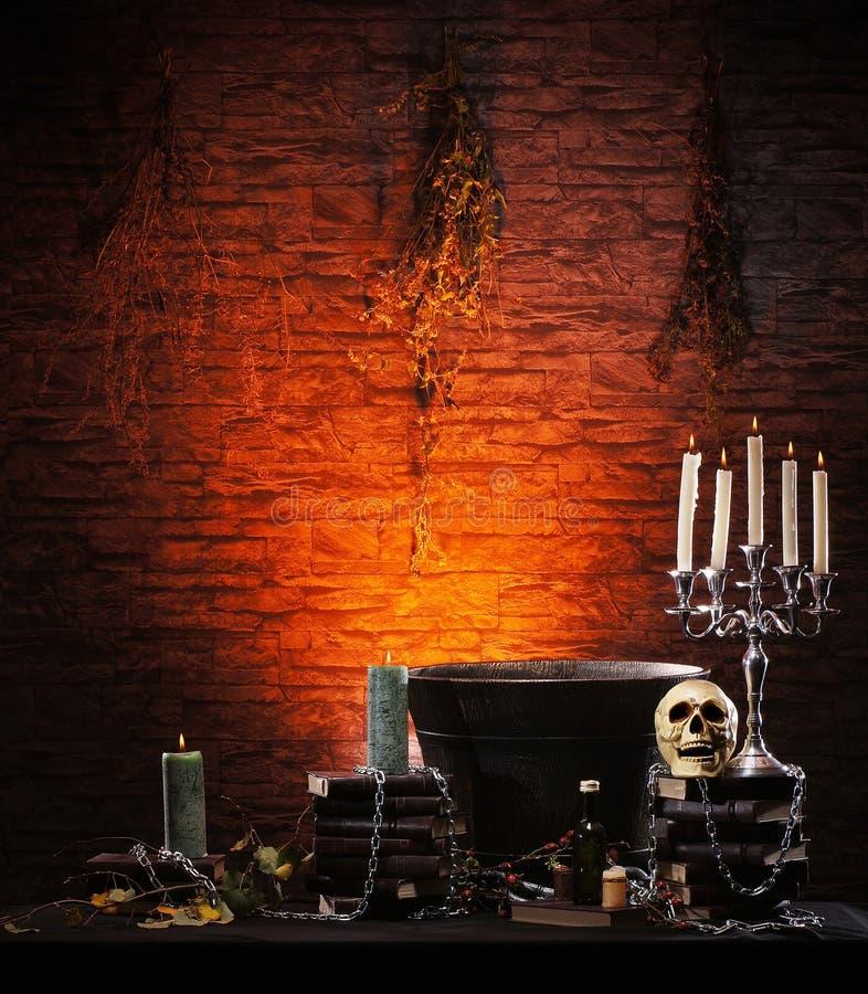Fundo de Halloween com muitos elementos imagem de stock