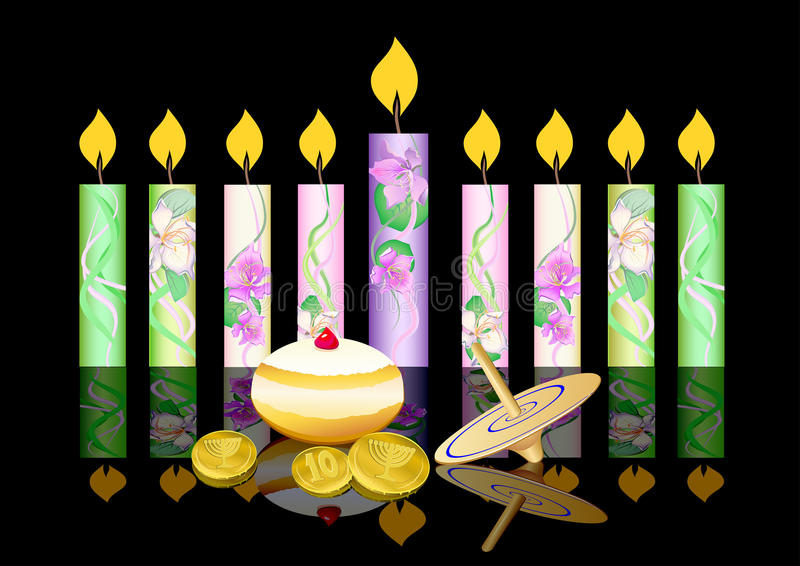 Fundo de Hanukkah com velas ilustração do vetor