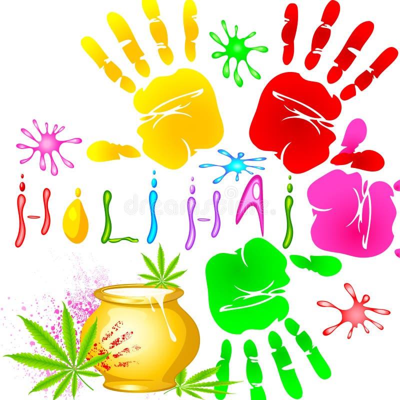 Fundo de Holi com handprint colorido ilustração stock