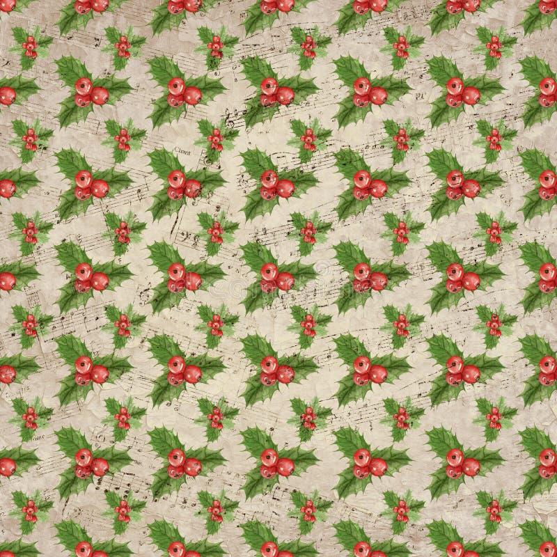 Fundo de Holly Distressed Sheet Music Christmas do vintage - papel de Holly Pattern - do álbum de recortes de Digitas ilustração do vetor