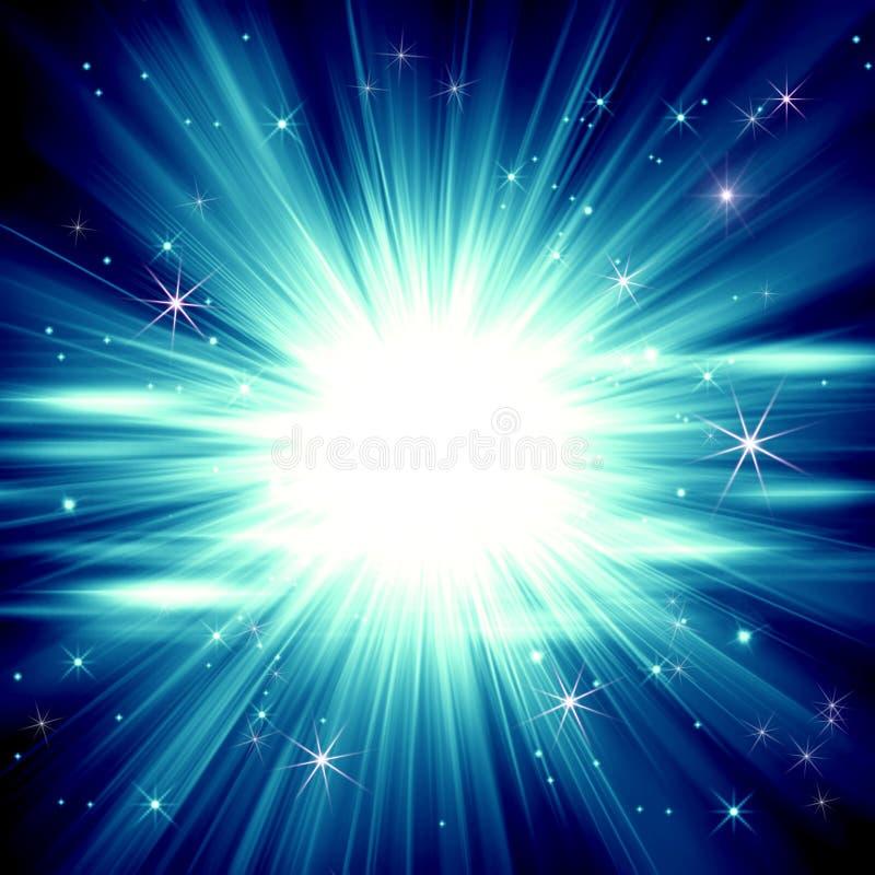 Fundo de incandescência azul abstrato, explosão da estrela, ra brilhante azul ilustração do vetor