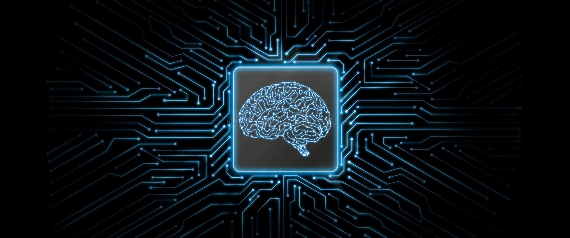 Fundo de incandescência azul da placa de circuito do sumário com logotipo do cérebro no centro fotos de stock royalty free