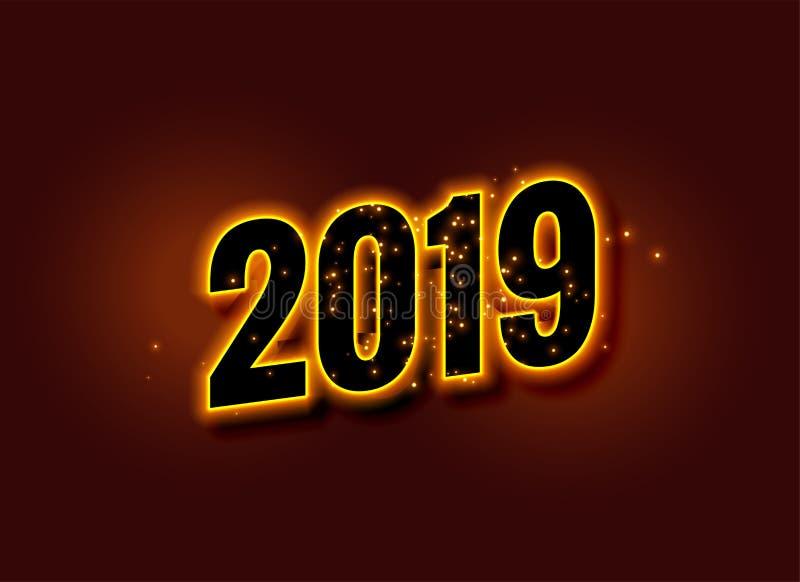 Fundo 2019 de incandescência do ano novo feliz ilustração do vetor