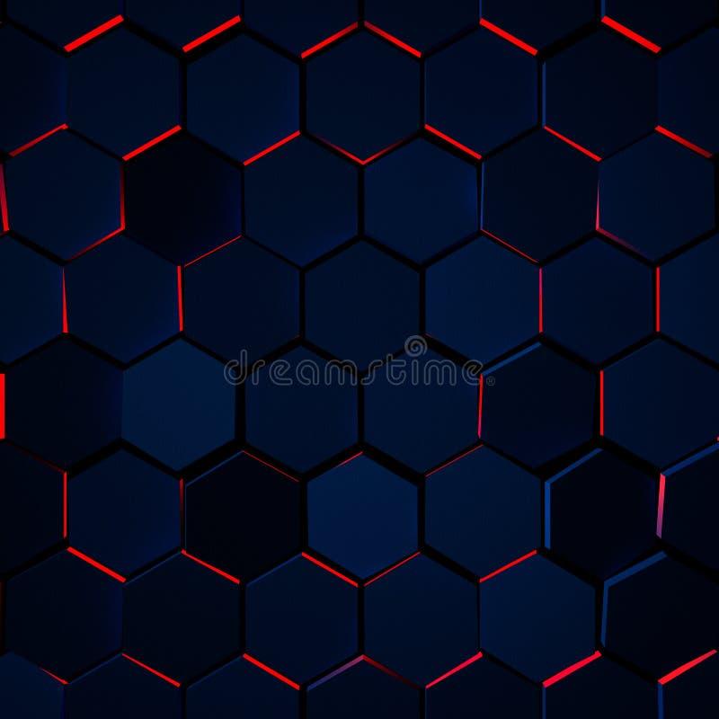 Fundo de incandescência escuro do hexágono ilustração royalty free