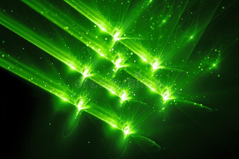 Fundo de incandescência verde do sumário da arma do quantum ilustração do vetor