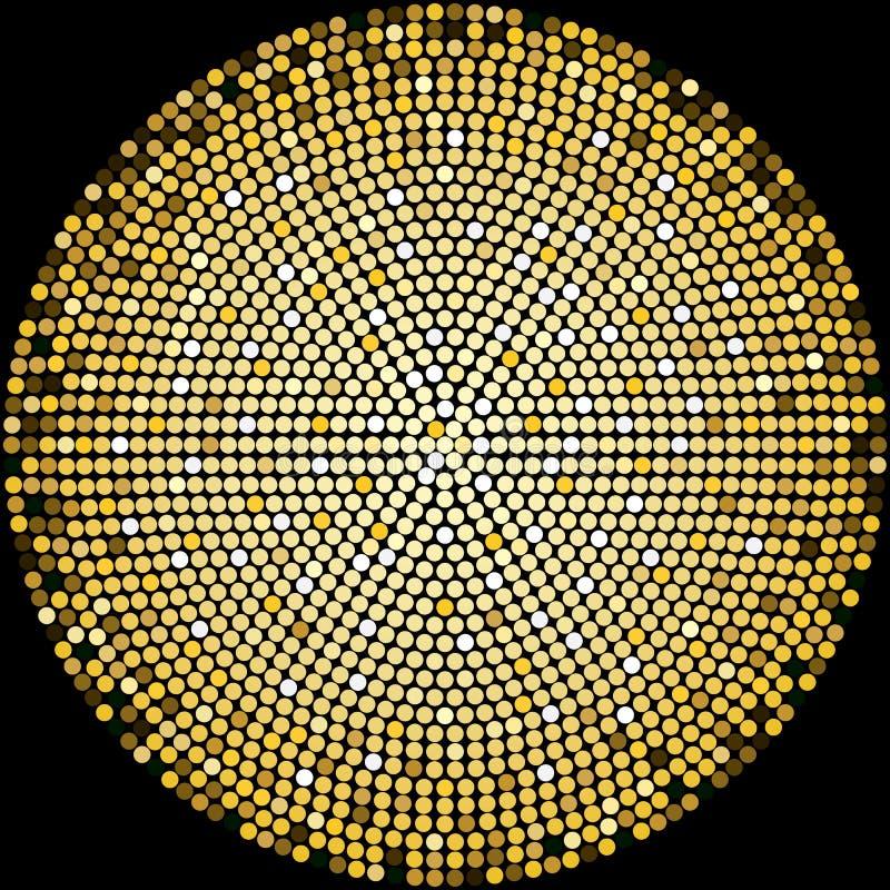 Fundo de intervalo mínimo do teste padrão das bolas douradas do disco ilustração royalty free