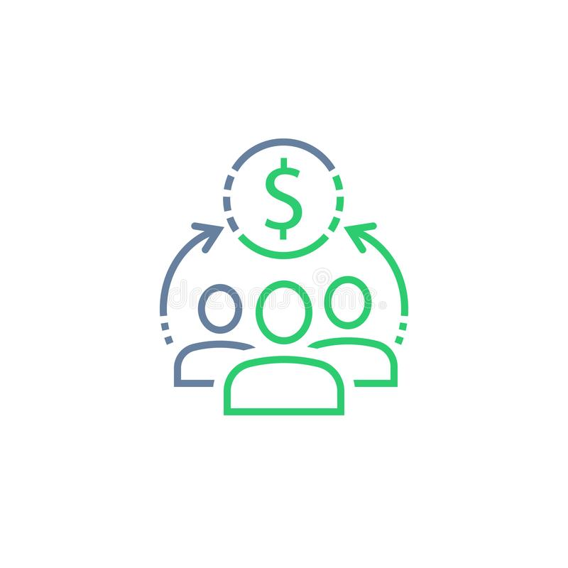 Fundo de investimento aberto, serviço incorporado, compartilhando do conceito da economia, gestão financeira, investimento empres ilustração stock