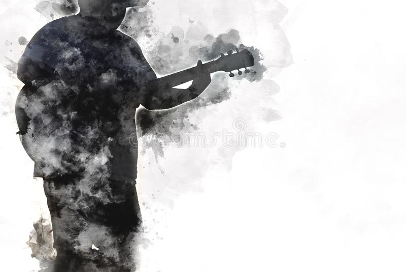 Fundo de jogo abstrato da pintura da aquarela da guitarra acústica ilustração stock