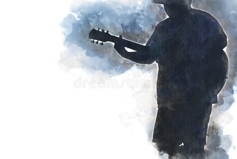 Fundo de jogo abstrato da pintura da aquarela da guitarra acústica ilustração royalty free