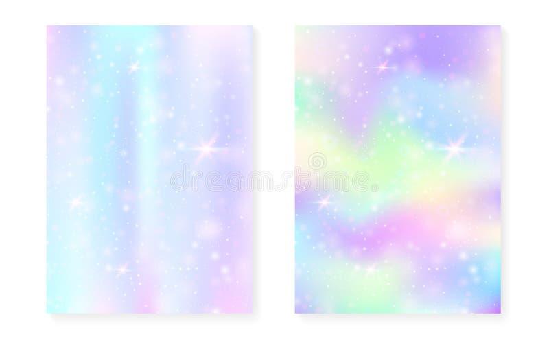 Fundo de Kawaii com inclinação da princesa do arco-íris Holograma mágico do unicórnio ilustração royalty free