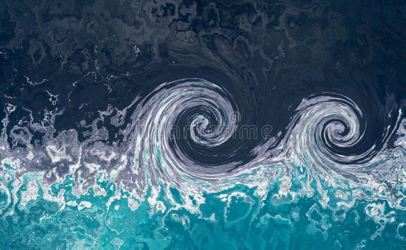 Fundo de mármore abstrato da água com ondas do tsunami imagens de stock