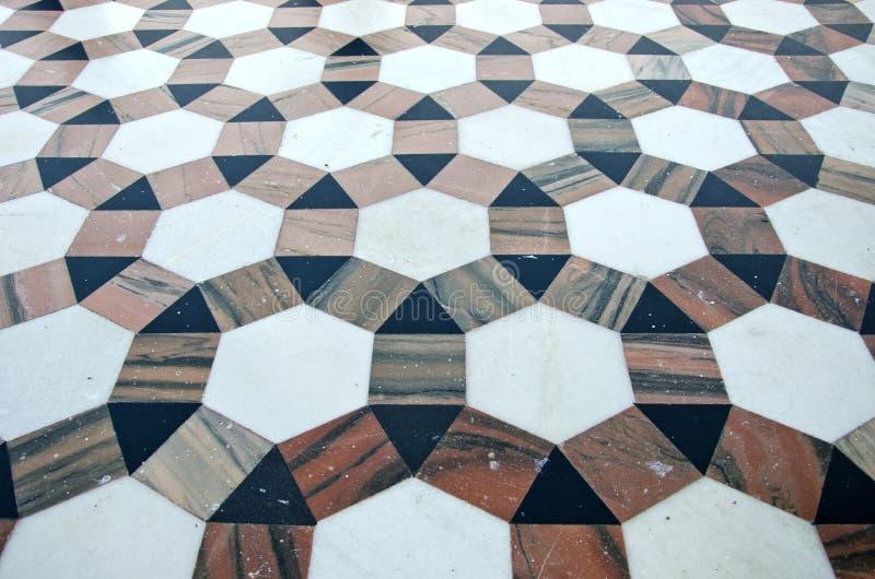 Fundo de mármore decorativo bonito do assoalho no templo asiático, Índia fotografia de stock royalty free