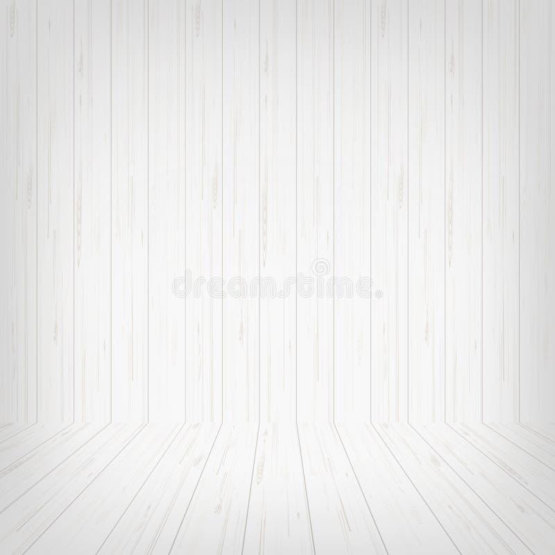 Fundo de madeira branco vazio do espaço da sala Vetor ilustração stock