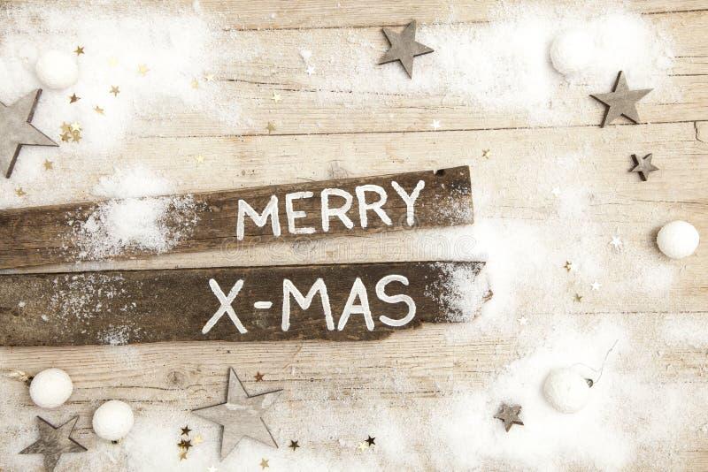 Fundo de madeira cinzento de Christmassy com decoração fotografia de stock royalty free
