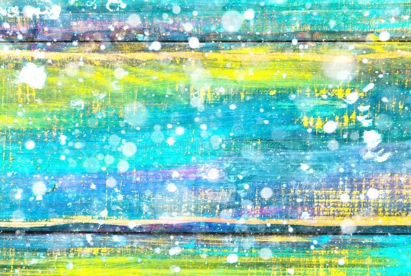 Fundo de madeira colorido com flocos de neve Exposição dobro Fundo festivo do inverno imagem de stock royalty free