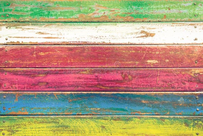Fundo de madeira colorido - teste padrão do papel de parede do vintage fotografia de stock royalty free