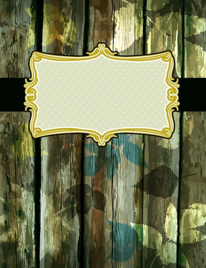 Fundo de madeira com etiquetas decorativas, vetor ilustração stock