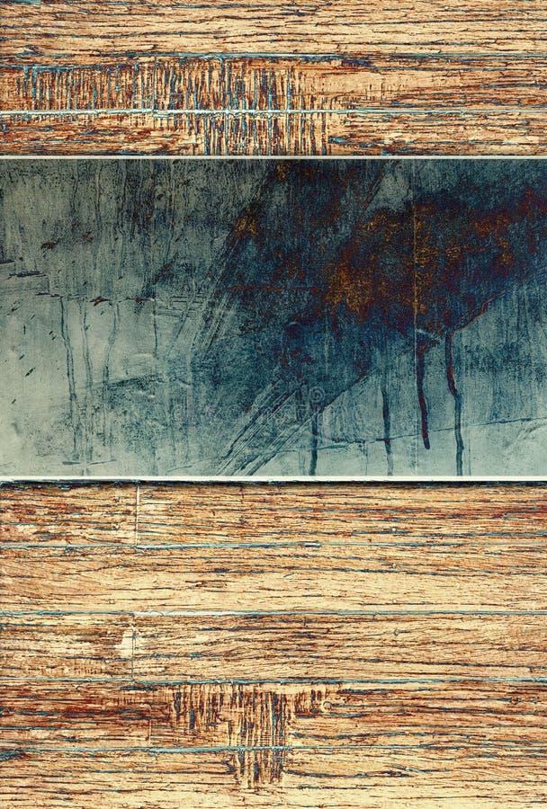 Fundo de madeira com placa de metal ilustração do vetor