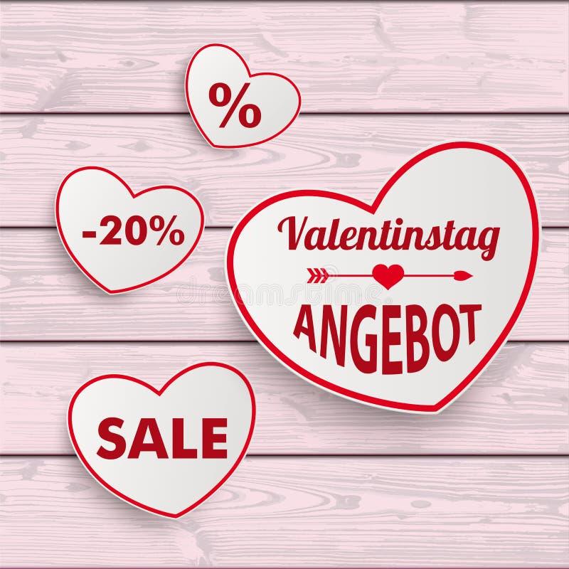 Fundo de madeira cor-de-rosa de Valentinstag da fita vermelha dos corações da venda branca ilustração royalty free