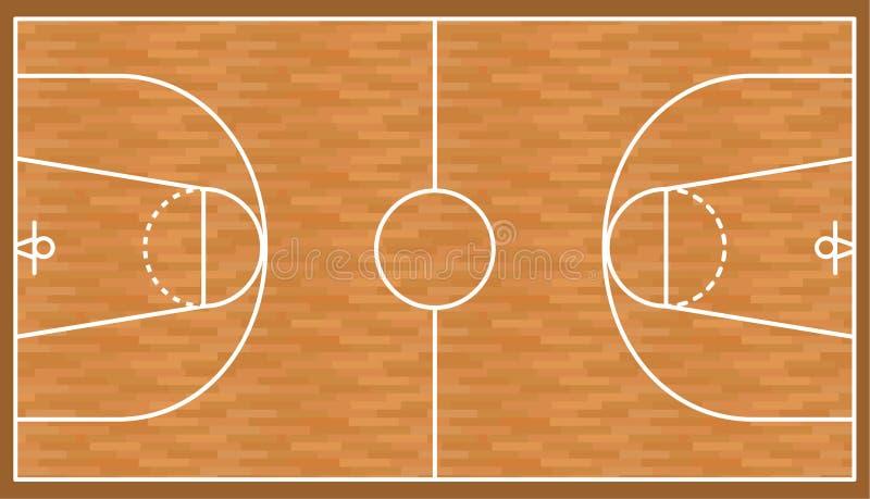 Fundo de madeira da corte do basquetebol, campo do parquet ilustração do vetor
