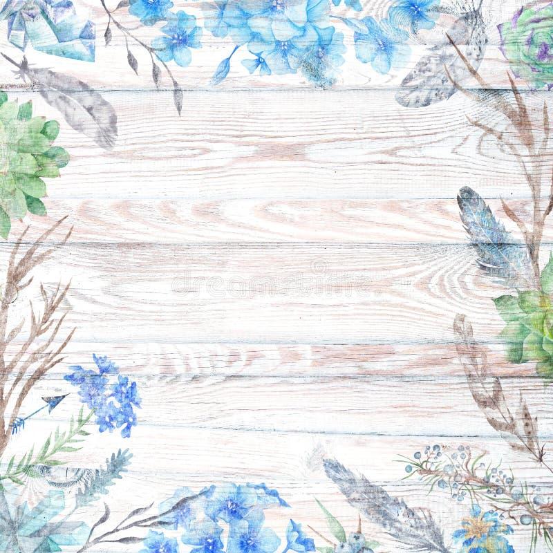 Fundo de madeira da queda chique de Boho com flores e penas ilustração royalty free