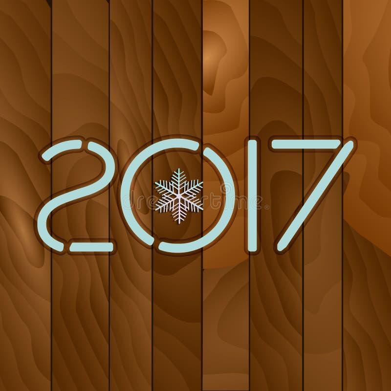 2017 Fundo de madeira da textura ilustração do vetor